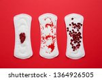 menstrual pads with red sequins ...   Shutterstock . vector #1364926505