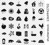 planet earth icons set. simple... | Shutterstock .eps vector #1364942702