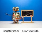 Small photo of Artificial intelligence and trigonometry lesson in college. Robot teacher explains theory inverse trigonometric functions. Classroom interior with handwritten formula black chalkboard