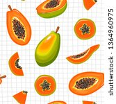 seamless fashion pattern with... | Shutterstock .eps vector #1364960975