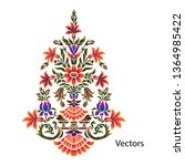 mughal paisley flower motif... | Shutterstock .eps vector #1364985422