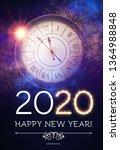 happy hew 2020 year  clock ... | Shutterstock .eps vector #1364988848