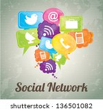 social network icons over... | Shutterstock .eps vector #136501082