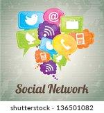 social network icons over... | Shutterstock .eps vector #136501082