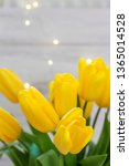 bouquet of yellow tulips and... | Shutterstock . vector #1365014528