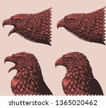 heads of eagles. design set.... | Shutterstock .eps vector #1365020462