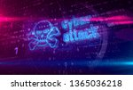 cyber attack hologram on...   Shutterstock . vector #1365036218