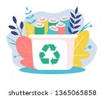 recyclable battery container.... | Shutterstock .eps vector #1365065858