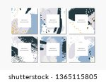 set of pastel square hand drawn ... | Shutterstock .eps vector #1365115805