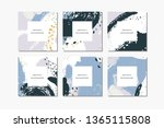 set of pastel square hand drawn ... | Shutterstock .eps vector #1365115808
