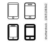 cell phone icon vector  set and ...