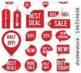 sale tags and stickers set  ... | Shutterstock .eps vector #136514636