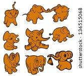 collection elephants. similar... | Shutterstock .eps vector #136515068