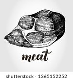 ink hand drawn piece of meat... | Shutterstock .eps vector #1365152252