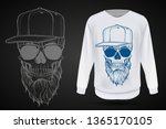 angry skull with beard  hat and ... | Shutterstock .eps vector #1365170105