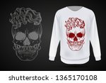 angry skull with hairstyle and... | Shutterstock .eps vector #1365170108