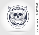 hand drawn sketch  skull with... | Shutterstock .eps vector #1365170282