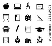 education icons black | Shutterstock .eps vector #136519376
