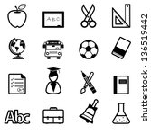education icons black vector | Shutterstock .eps vector #136519442