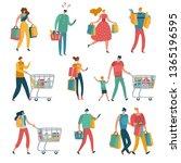 shopping people set. man woman... | Shutterstock . vector #1365196595