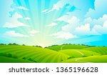 fields landscape. scenic green... | Shutterstock . vector #1365196628