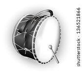 White musical background series. Traditional Turkish drum, isolated on white background. Vector illustration