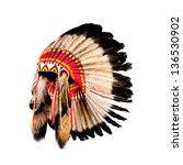 native american indian chief... | Shutterstock . vector #136530902