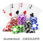 aces with realistic stack or... | Shutterstock .eps vector #1365313295