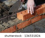 construction worker laying... | Shutterstock . vector #136531826
