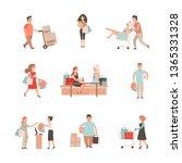 shopaholic people. shopping...   Shutterstock .eps vector #1365331328