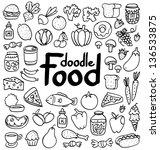 doodle food set of 50 various... | Shutterstock .eps vector #136533875