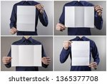 a man in a blue shirt holding a ... | Shutterstock . vector #1365377708