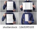 a man in a blue shirt holding a ... | Shutterstock . vector #1365395105