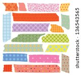 set of colorful craft tape with ... | Shutterstock .eps vector #136543565