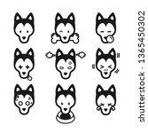 set of icon emotional husky dog ...   Shutterstock .eps vector #1365450302