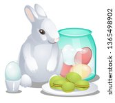 easter bunny  colorful eggs and ... | Shutterstock .eps vector #1365498902