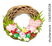 easter braided wreath of twigs... | Shutterstock .eps vector #1365518528