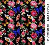 seamless pattern. butterflies ... | Shutterstock . vector #1365534485