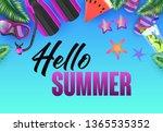 hello summer bright poster...   Shutterstock .eps vector #1365535352