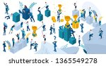 isometric set of people in... | Shutterstock .eps vector #1365549278