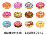 sweet tasty donuts set.culinary ... | Shutterstock .eps vector #1365550892