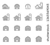 barn icon vector set | Shutterstock .eps vector #1365569045