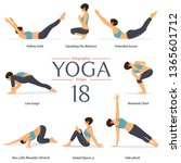 set of 8 yoga poses in flat... | Shutterstock .eps vector #1365601712