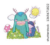 little fairy with monster in...   Shutterstock .eps vector #1365671822