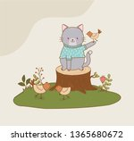 Stock vector cute cat in the field woodland character 1365680672
