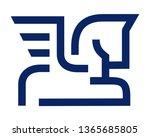 pegasus simple line design... | Shutterstock .eps vector #1365685805