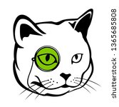 head cat with pocket glasses... | Shutterstock .eps vector #1365685808