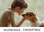 child kisses the dog in nose on ...   Shutterstock . vector #1365697862