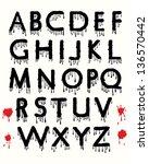 dripping blood alphabet | Shutterstock . vector #136570442