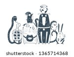 Stock vector domestic animals pets together portrait cute monochrome home domestic animals sitting together 1365714368